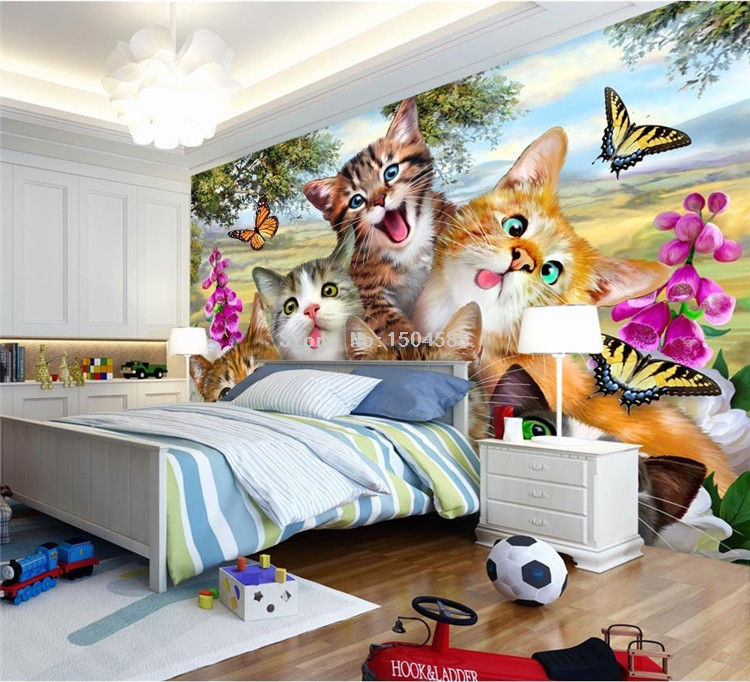 HTB1QWn9SpXXXXXRaXXXq6xXFXXXx - 3D Cartoon Cute Cat Animal Wallpaper For Kids Room-Free Shipping