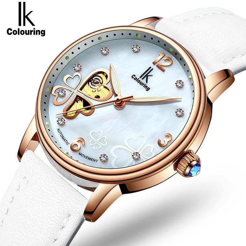 Lucky 2018 Clover New Fashion Genuine Leather Womens Watch OL Lady Diamond Automatic Mechanical Watches Women Reloj femenino<br>