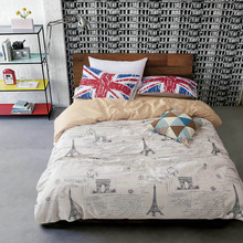 Cotton Letter Duvet Cover Sets White Quilt Cover Union Flag Pillow Case 3pcs Words Beddig Set White Duvet Cover Queen