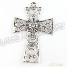 On Sale 9pcs/lot New Hollow Rhinestone Cross Alloy Antique Silver Plated Pendant Finding Fit Jewerly DIY 83.5*54*5mm 142641
