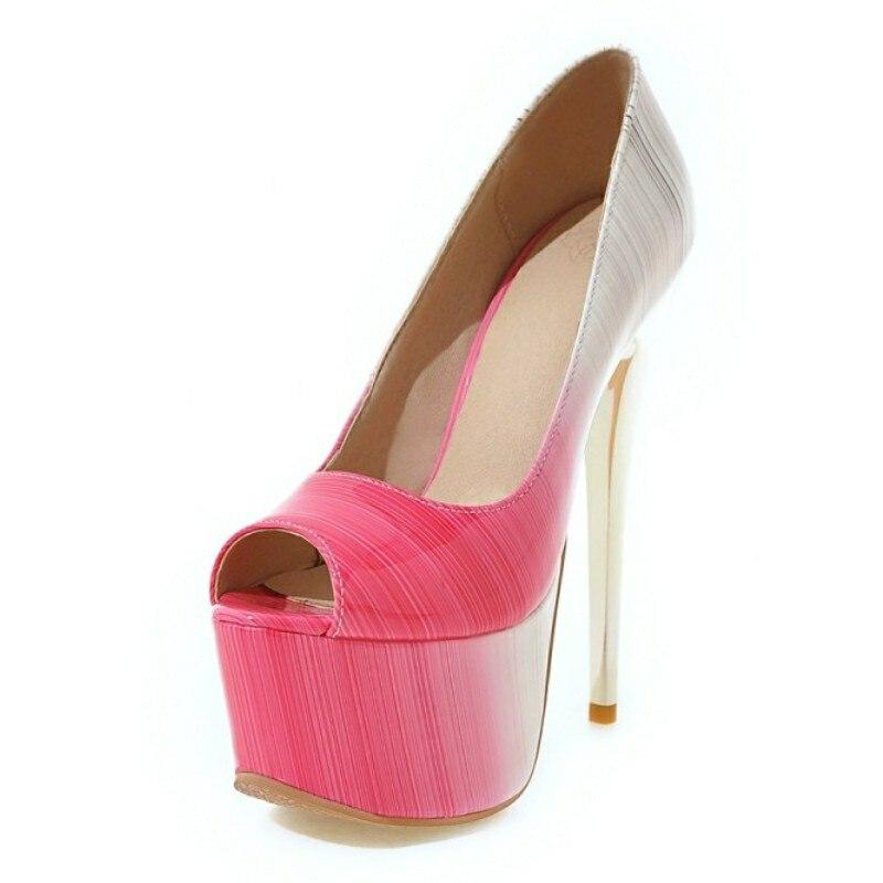 DoraTasia 2017 Sexy Small Big Size 30-48 Ultra High Heel Woman Pumps Open Peep Toe Mixed Color Thick Platform Shoes Women<br><br>Aliexpress