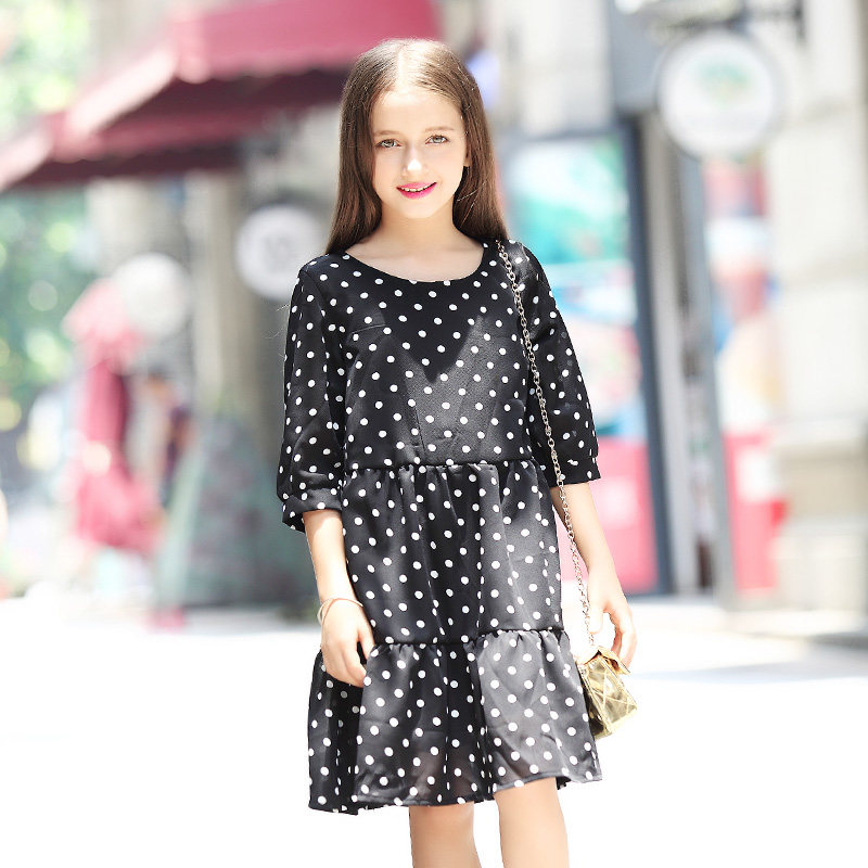 Baby Girl Dresses 2017 Black Polka Dot Chiffon Dress White Dotted Clothing for Girls Age 5 6 7 8 9 10 11 12 13 14T Years Old<br>