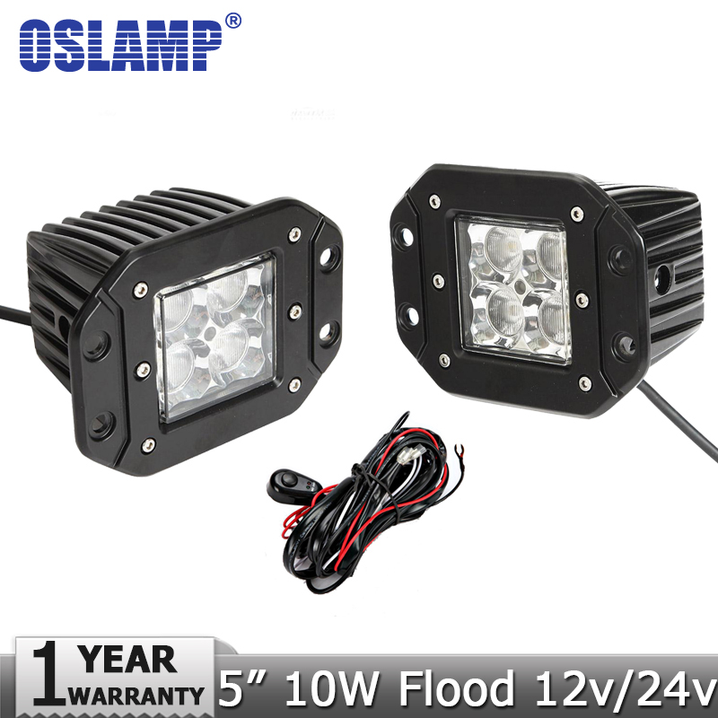 Oslamp 2x10W CREE Chips Flood Beam Led Work Light Flush Mount Led Driving Light for Jeep JD40/LC80 Offroad 4x4 4WD Truck 12V/24V<br><br>Aliexpress