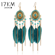 Buy 17KM 2016 Bohemia Vintage Women Long Feather Drop Earrings Tassel Bead Ethnic Indian Charm Brincos Jewelry Pendientes Bijoux for $1.79 in AliExpress store