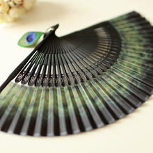 High Grade Japanese Folding Fan Bamboo Handle Kimono Hand Fan Elegant Unique Peacock Feather Silk Female Dance Fan 3 Colors