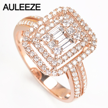 AULEEZE Double Halo Pave Real Diamond Ring Real 18K 750 Yellow Gold 0.71cttw Natural Diamond Engagement Ring Fine Jewelry