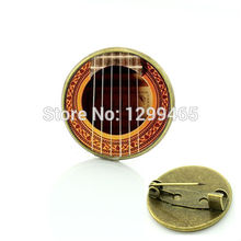 Best Deals Ever Acoustic Guitar brooch musical instrument pin jewelry musician accessories Art picture Glass medal C 800(China)