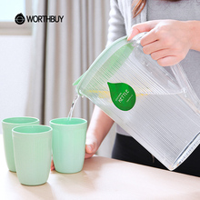 WORTHBUY High-Capacity 2.3L Striped Plastic Water Jug Juice Beverage Water Pot Bottle Kitchen Accessories Sets(China)
