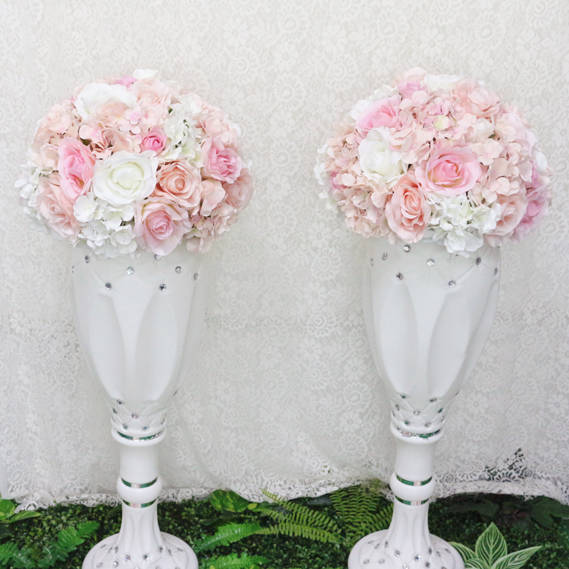 JAROWN Artificial Wedding Flower Ball Simulation Rose Hydrangea Flowers Hemisphere Roman Column Decor Home Party Decor Flores (1)