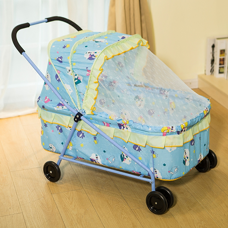 Baby Crib with Roller Hand Push Trolley Cot Baby Bassinet Multi-function Portable Crib Game Bed with Roll Wheel Mosquito Net