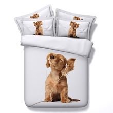 4PCS/Set/Lot 3D Dog print Bedding sets duvet cover set Designer Queen size Super King Full bedspread Brand bed sheets linen 4pcs(China)