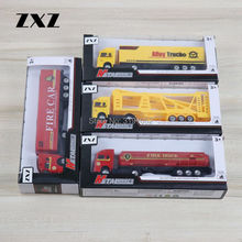 ZXZ 4PCS/LOT 1:72 Scale Carrier Vehicle+Oil Tank+Fire Rescue +Alloy Truck Die-cast Metal For Boy's Best Toy Gift