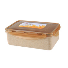 Bearknight Wheat Square Lunch Boxs Can Be Microwave Simple Lunch Boxs Student Lunch Fast Food Box Sealed Crisper Dinnerware Sets(China)