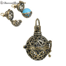 DoreenBeads Antique Bronze Vintage Copper Wish Box Pendants Round Hollow (Fit Bead Size: 16mm) 33mm x 23mm, 1 PC