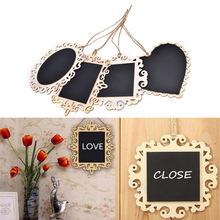 Hot 1PC wooden Blackboard on Place For Wedding Party Decorations chalkboards Message board Vintage Hanging Wood Mini Blackboard