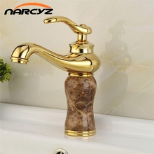 High Quality Golden Plated Bathroom Marble Stone Basin Taps Deck Mounted Hot and Cold Sink Faucet Crane XT603