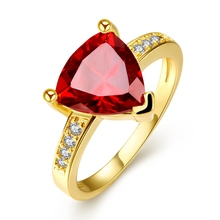 Fashion Creative Triangle Czech Drill ring 18k gold/rose gold /Platinum plated fashion Jewelry for birthday gift for women