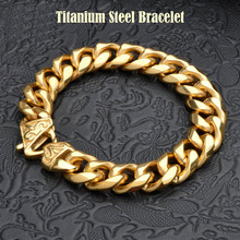 New Titanium Men's Gold Punk Heavy Twisted Link Chains Bracelet Bangles Cuff Wristband Pulseras Trendy Male Jewelry Brace lace(China)