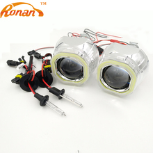 RONAN 2.5 Bi Xenon Mini Projector Lens with Square COB Angel Eyes +xenon bulb H1 Car Styling Automobile Headlights for H1 H4 H7(China)