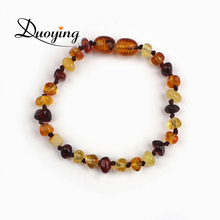 DUOYING Brand 14cm Natural Teething Ambar Stone Four Colors Lovely Baby Ambar Bracelet For Little Boys And Girls(China)