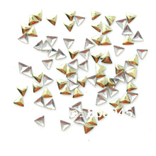 Wholesale Lt. Gold Color 2.5MM 1000pcs triangle metal 3D nail art decorations rhinestones Sticker Tips nail supplies