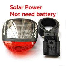 Solar Power LED Bicycle Lights Bike Rear Tail Lamp Light Bike cycling Safety warning Flashing Light Lamp Red TL0306(China)