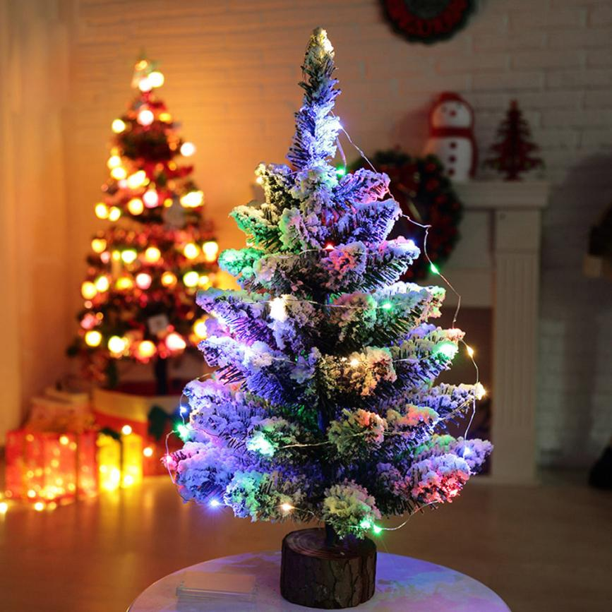 Artificial Flocking Snow Christmas Tree LED Multicolor Lights Home Window Decorations Beautiful Drop Shipping Happy 17aug2(China)