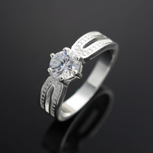 2017 Top Finger Ring Real Sliver Plated 2 Row With Cubic Zircon Wide Ring Fashion Jewelry Wholesale Jewelry For Women(China)