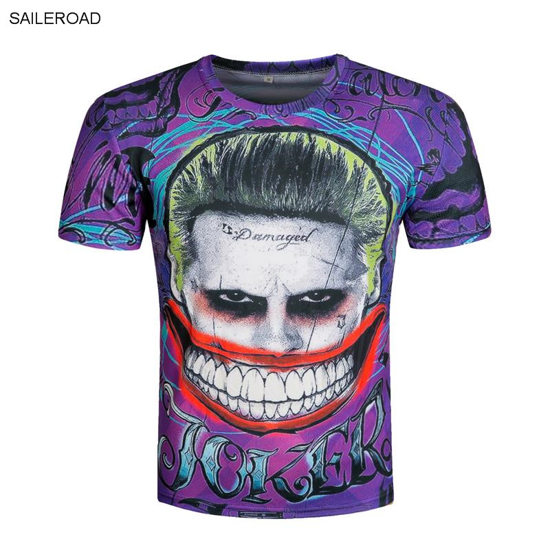 2017 Harley Quinn Tops Joker Printed T-Shirt Men Suicide Squad T Shirt Fitness Skate Brand Clothing Cosplay Costume Homme Tees(China)