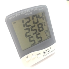 Big LCD Indoor Thermometer Hygrometer Desktop Stand Digital Household Temperature Humidity Meter Clock With Wall Hang TA218B(China)