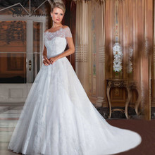 C.V New Arrival Custom Made Wedding Gown pearls vestidos de noiva Western Style Cheap Price Vintage Lace Wedding Dresses 2016