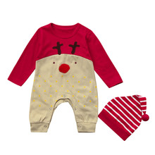 Newborn Baby Rompers Deer Christmas Boys Girls Clothes Jumpsuit Hat Set Kid Outfits Baby clothes drop ship(China)