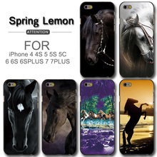 Horse Racing For iPhone 6 Case High Quality Black Classic Horse Hard Case For iPhone 6plus 7 7plus 8 8plus 5 5s 5c 4 4s SE(China)