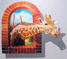 Hand painted  The Deer Out of  Window  3D Oil Painting   Living Room Wall Picture  Modern Canvas Art  Hot Sale  No framed