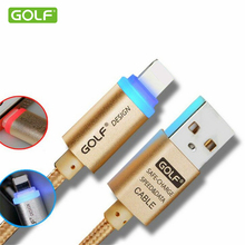 GOLF Auto Power-Off Fast Charging Cable For iPhone 5 5s 6 6s 7 Plus 8-Pin USB Data Sync Charge Cable LED Lamp Smart Charger Wire(China)