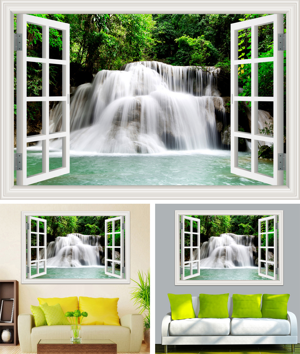 HTB1QXBqh22H8KJjy1zkq6xr7pXa2 - Waterfall 3D Window View Wallpaper Nature Landscape Wall Decals for Living Room