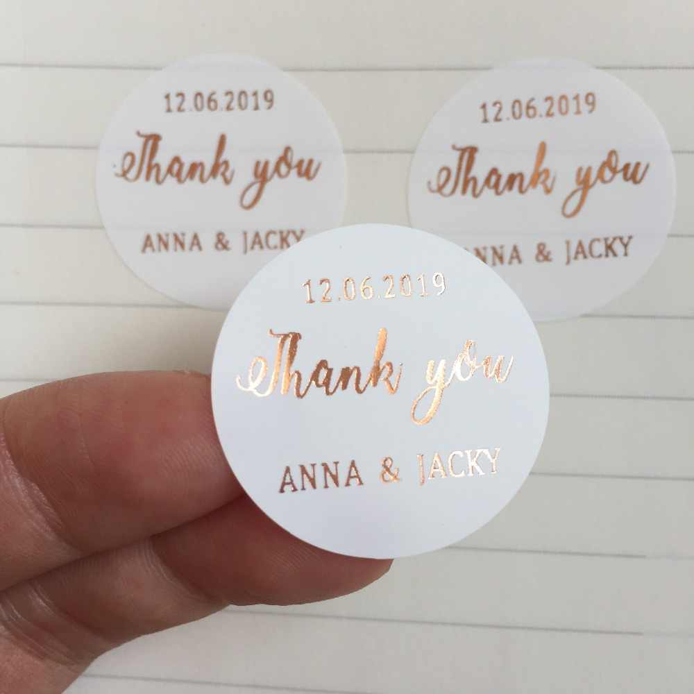90 Personalized foil Silvergold wedding thank you gifts stickers custom baptism birthday loot bag labels candle jar bottle decor