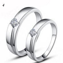 Two Pieces Stylish Women Men Korean Copper White Golden Zircon Couple Promise Rings lotes al por mayor Wedding