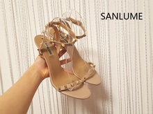 Brand SANLUME 9.5 cm heel 2017 new summer Thin heels rivet party shoes sandals women pumps(China)