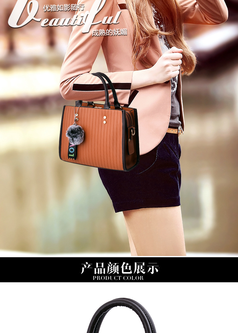 Ladies Handbags for Women 2018 Fashion Black Pu Leather Shoulder Bag Women Hand Bag Female Stripe Hairball Design Top-Handle Bag