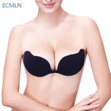 Women Front Closure Silicone Self-Adhesive Half Cup Wire Free Backless Strapless Seamless Push Up Bra For Female Intimates #BT