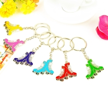 FREE SHIPPING BY DHL 100pcs/lot Wholesale Zinc Alloy Roller Skates Keychains Metal Skates Shaped Keyrings for Gifts