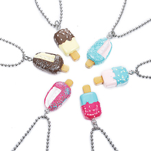 New Summer Multicolor Two Different Popsicle Pendant Necklace Best Friends BFF Bead Chain Necklace jewelry lead nickel free()