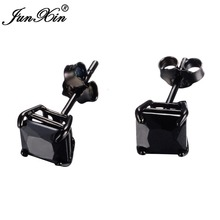 JUNXIN New Lover's Black Gold Earring Round Geometric Design 925 Sterling Silver Fashion Black Earrings Studs For Men And Women