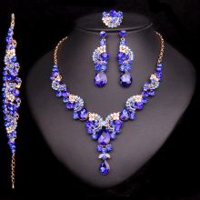Fashion Crystal Wedding Jewelry Sets For Bride Party Costume Accessories Bridal Decorations Necklace Earring Jewellery for Women