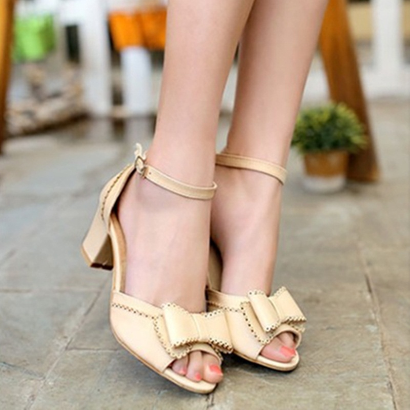 Ladies Best Selling Sweet Elegant Plus size(4-12)buckle-strap Ankle Wrap Peep toe Bow Square High heels sandalias Women Pumps<br>