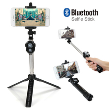 Fashion Foldable Selfie Stick Self Bluetooth Selfie Stick Tripod Bluetooth Shutter Remote Controller for iPhone/Android Phone(China)