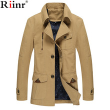 Riinr 2017 Men's Coat Fashion Jacket Plus Size Overcoat Men Casual Jackets Windbreaker Military jacket Man's Jackets and Coats(China)