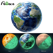 30cm luminous moon Earth Wall Stickers glow in the dark bright moon ball Planet wall Stickers decal DIY decor for living room