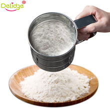 Delidge 1 pc Mesh Flour Sifter Stainless Steel Cup Shape Flour Sieve Mesh Flour Sifter Mechanical Baking Icing Sugar Shaker(China)